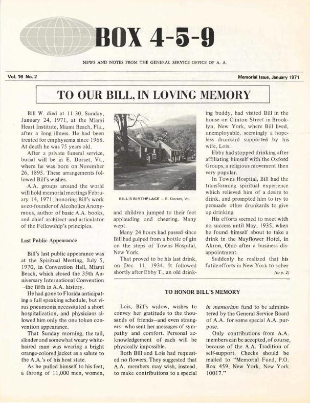 Memorial Issue of Box 4-5-9